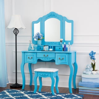Fineboard Vanity Set Beauty Station Makeup Table and Wooden Stool Set with 3 Mirrors and 5 Organization DrawersSet (Option: Blue)
