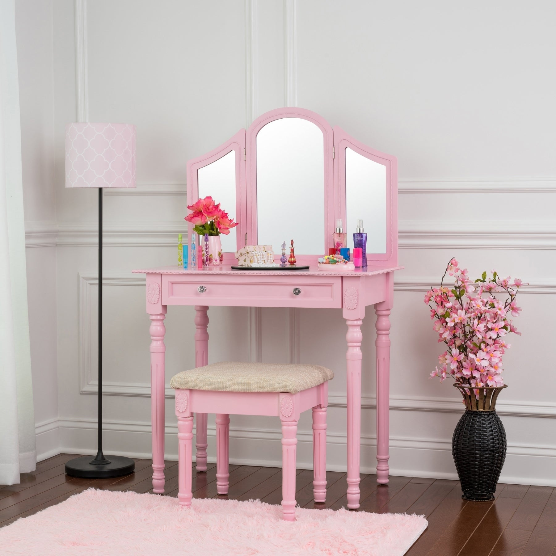 Fineboard Three Mirror Vanity Dressing Table Set with Sto...