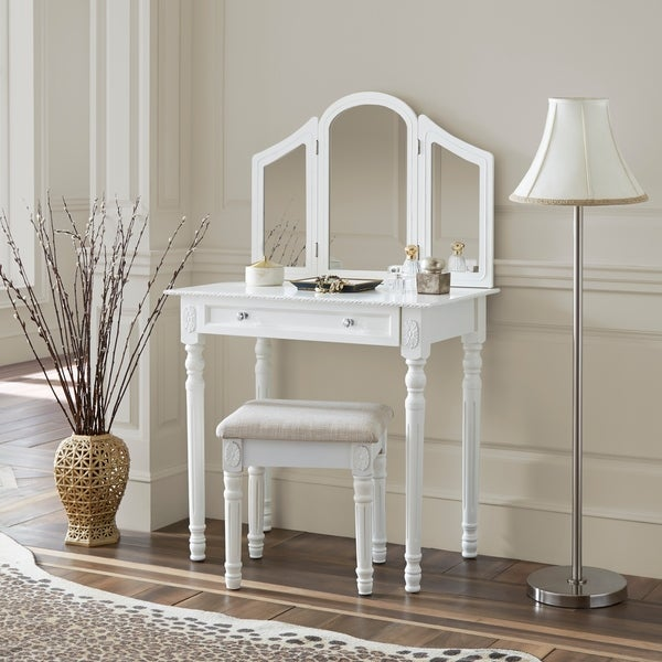 Shop Fineboard Three Mirror Vanity Dressing Table Set With