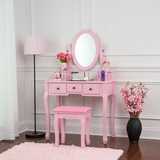 Fineboard Single Mirror Dressing Table Set Five Organization Drawers Vanity Table with Wooden Stool (Option: Pink - Pink Finish)