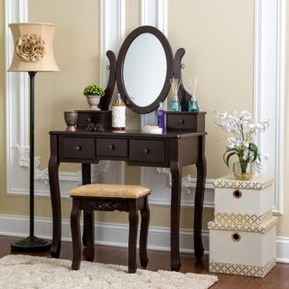 Fineboard Single Mirror Dressing Table Set Five Organization Drawers Vanity Table with Wooden Stool (3 options available)
