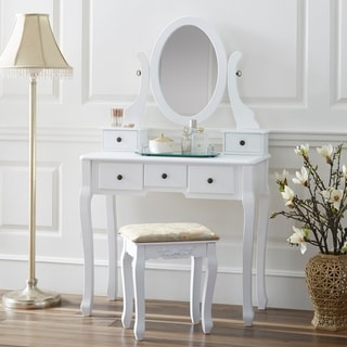 Fineboard Single Mirror Dressing Table Set Five Organization Drawers Vanity Table with Wooden Stool & Fineboard Vanity Table Set Wooden Dressing Table with Single Mirror ...