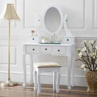 Fineboard Single Mirror Dressing Table Set Five Organization Drawers Vanity Table with Wooden Stool (4 options available)