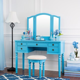Fineboard Dressing Set with Stool Beauty Station Makeup Table Three Mirror Vanity Set, 5 Organization Drawers (Option: Blue)