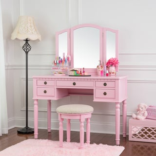 Fineboard Dressing Makeup Table Set with Mirror and Stool Included