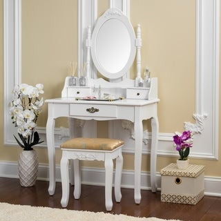 Fineboard Vanity Table Set Wooden Dressing Table with Single Mirror, Organization Drawers Makeup Table & Stool