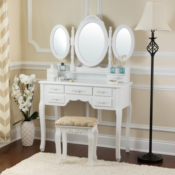 Fineboard Vanity Set with Stool Makeup Table with Seven Organization Drawers 3 Oval Mirrors
