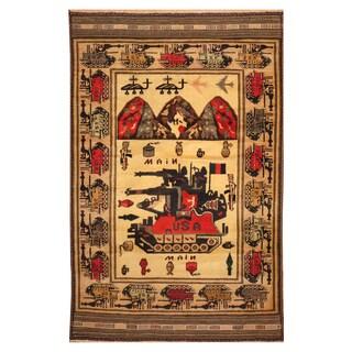Handmade Herat Oriental Afghan Hand-knotted Wool War Rug (3'1 x 4'9)