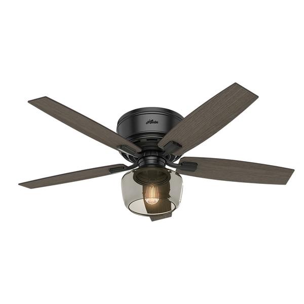 Hunter Fan Bennett Matte Black 52-inch Celing Fan With 5 Grey Walnut/Burnt Walnut Reversible Blades
