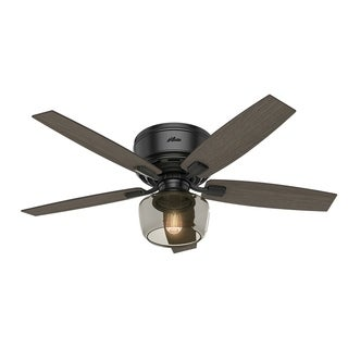 Hunter Fan Bennett Matte Black 52-inch Celing Fan With 5 Grey Walnut/Burnt Walnut Reversible Blades