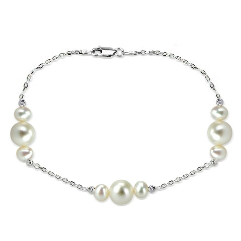 DaVonna Sterling Silver 6-10mm Freshwater Pearl stations chain Bracelet, 7.5 inch + 1 inch Extension.