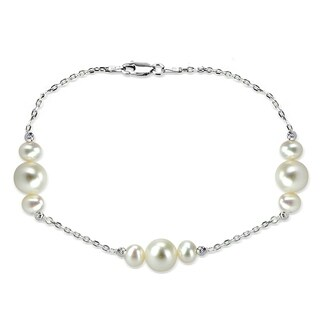 DaVonna Sterling Silver 6-10mm Freshwater Pearl stations chain Bracelet, 7.5 inch + 1 inch Extension. (3 options available)