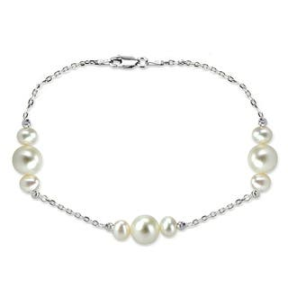 Davonna Sterling Silver 6 10mm Freshwater Pearl Stations Chain Bracelet 7 5 Inch 1