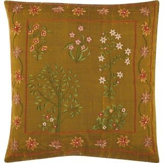 Mina Victory Silk Embroidery Botanical Green Throw Pillow (18-Inch X 18-Inch)