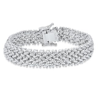 Pori Jewelers Sterling Silver Mesh bali Bracelet