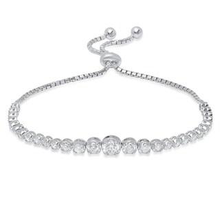 Pori Jewelers Sterling Silver CZ Adjustable Slider Bracelet