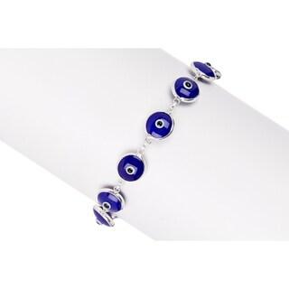 Pori Jewelers STERLING SILVER BLUE EVIL EYE BRACELET