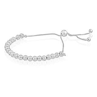 Pori Jewelers Sterling Silver Diamond-cut Handmade Ball Adjustable Slider Bracelet