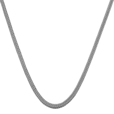 14k White Gold Silk Foxtail Necklace (16 - 24inch) - Black