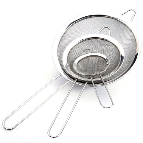 Stainless Steel Strainer Mesh Set 3 Pc Sieve Fine Mesh Strainer With Handle