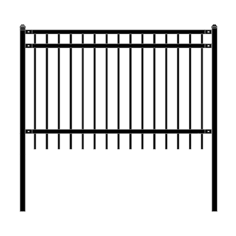 ALEKO Nice Style Self Unassembled Garden Yard Steel Fence 6'x4' Black