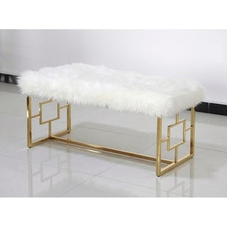 Link to Best Master Furniture White Faux Fur with Gold Base Similar Items in Living Room Furniture