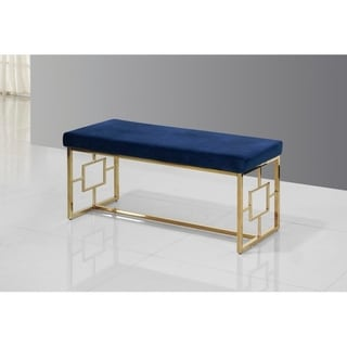 Best Master Furniture Blue/ Velvet with Gold Base