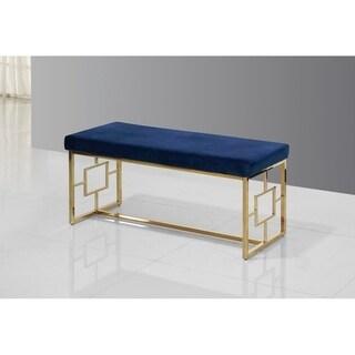 Best Master Furniture Blue/Gold-tone Velvet/Stainless Steel Bench