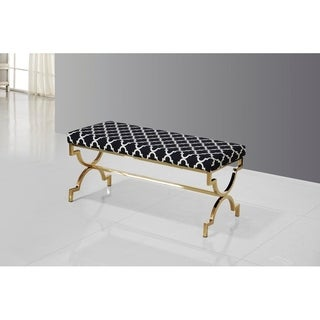 Best Master Furniture Safavieh Black and Gold Upholstered Bench