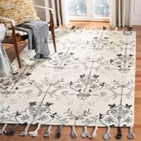 Safavieh Hand-Hooked Suzani Ivory/ Grey Wool Rug - 2'3 x 8'