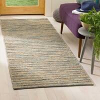 Safavieh Hand-Woven Organic Bohemian Blue/ Natural Jute Rug - 2'6 x 8'
