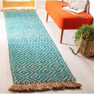 Safavieh Hand-Woven Natural Fiber Turquoise/ Natural Jute Rug (2'3 x 8')