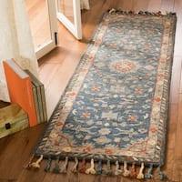 "Safavieh Handmade Aspen Bohemian & Eclectic  Blue/ Rust Wool Tassel Rug - 2'3"" x 7' Runner"