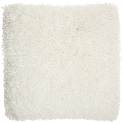 Mina Victory Lush White Shag Throw Pillow (20-Inch X 20-Inch)