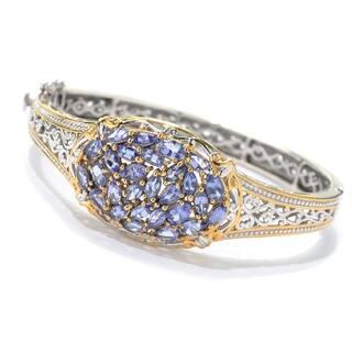 Michael Valitutti Palladium Silver Multi Shape Tanzanite Hinged Bangle Bracelet|https://ak1.ostkcdn.com/images/products/18793486/P24862310.jpg?impolicy=medium