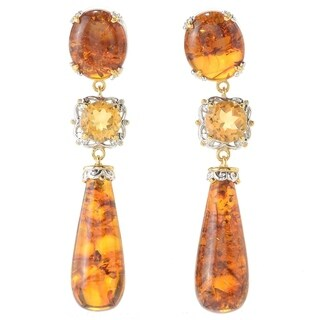 Michael Valitutti Palladium Silver Multi Shape Baltic Amber & Citrine Drop Earrings
