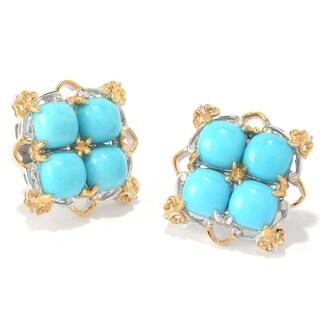 Michael Valitutti Palladium Silver Sleeping Beauty Turquoise Four-Stone Button Earrings