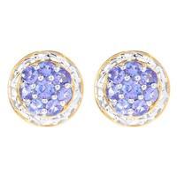 Michael Valitutti Palladium Silver Round Tanzanite Button Earrings