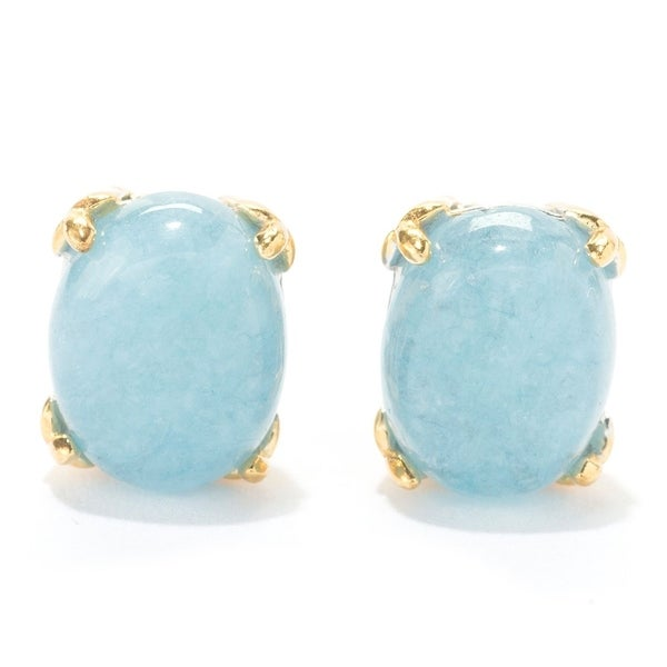Michael Valitutti Palladium Silver Oval Milky Aquamarine Stud Earrings