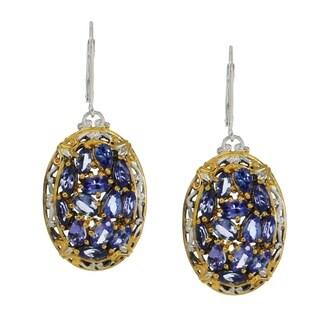 Michael Valitutti Palladium Silver Multi Shaped Tanzanite Cluster Earrings