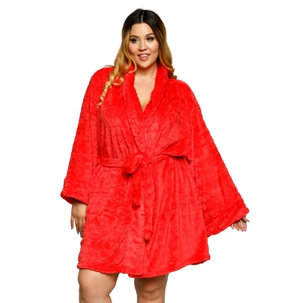Xehar Womens Plus Size Valentine Heart Plush Robe