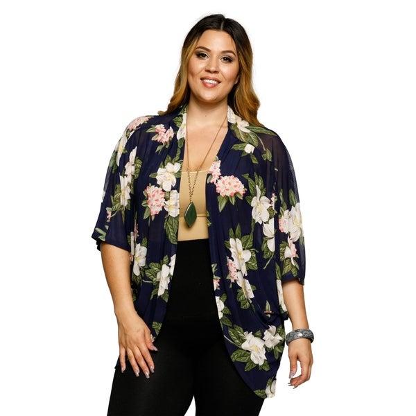f6676ede8df Shop Xehar Womens Plus Size Floral Open Front Short Kimono Cardigan ...