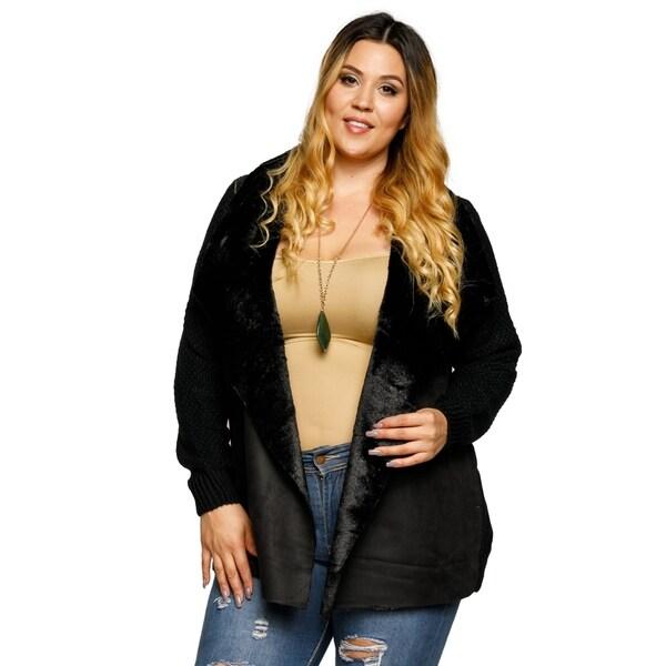 3bef4111cf Shop Xehar Womens Plus Size Faux Fur Collar Open Front Cardigan ...