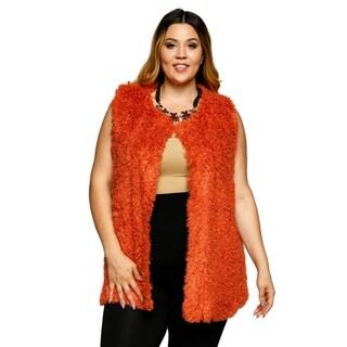 Xehar Womens Plus Size Faux Fur Front Closure Sweater Vest