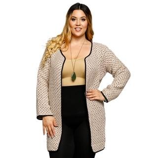 Xehar Womens Plus Size Textured Knit Open Front Jacket