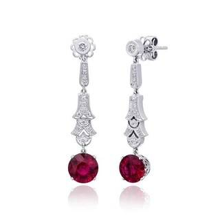 18K White Gold 3.28ct TGW Rubellite and White Diamond One-of-a-Kind Earrings