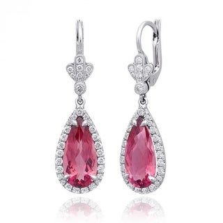Platinum 6.53ct TGW Pink Tourmaline and White Diamond One-of-a-Kind Earrings