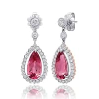 18K White Gold and Platinum 7.68ct TGW Tourmaline and Diamond One-of-a-Kind Earrings