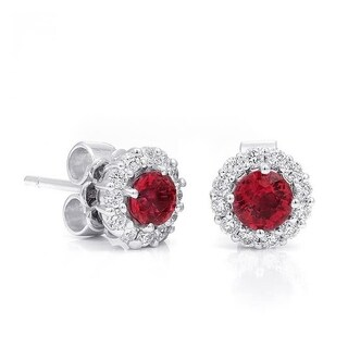 18K White Gold 1.12ct TGW Red Spinel and White Diamond Halo One-of-a-Kind Earrings