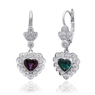 Platinum 1.71ct TGW Alexandrite and Diamond Dangling Heart One-of-a-Kind Earrings